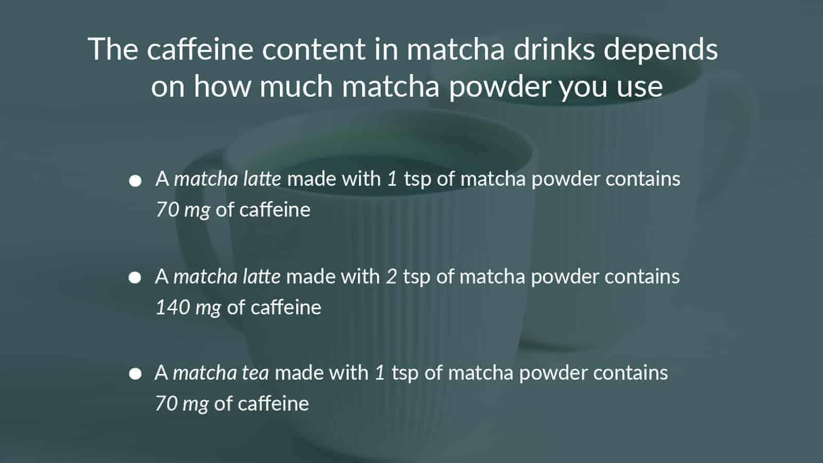 caffeine content in matcha tea
