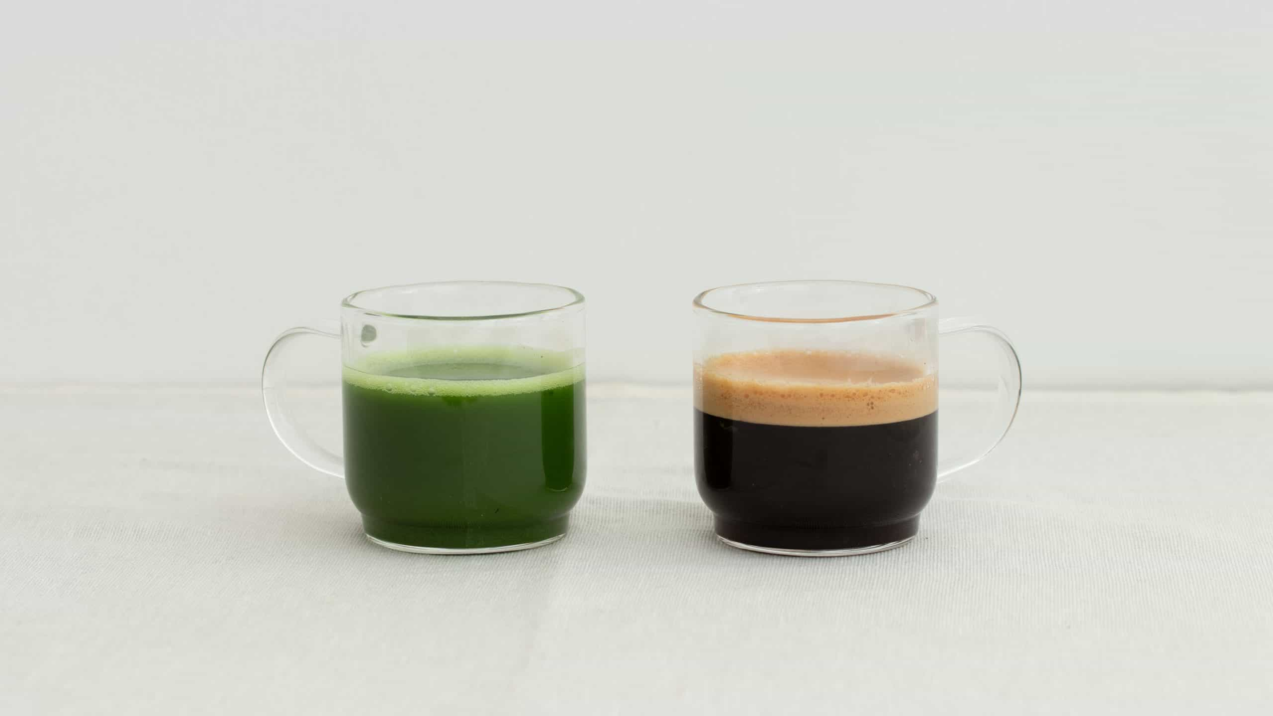 a cup of caffeine in matcha vs coffee comparison