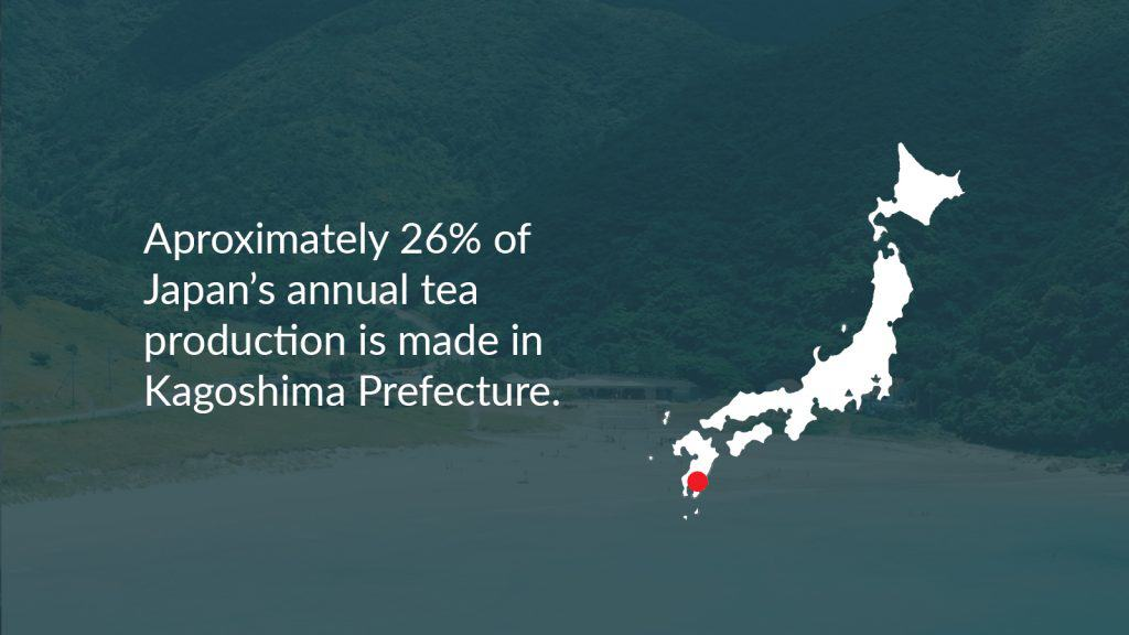 Kagoshima map where 26% of Japan's annual tea production is made in Kagoshima Prefecture