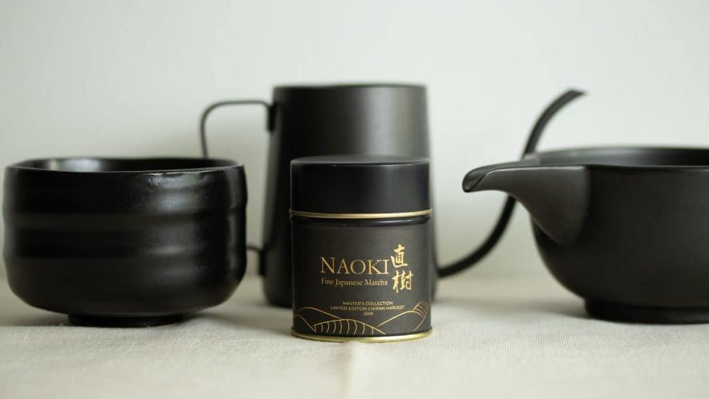 Naoki Master's Collection Chiran Blend with black jug, chawan bowl andyuzamashi
