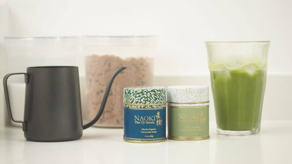 Superior Ceremonial Matcha and Organic Ceremonial Matcha with a glass of iced matcha latte