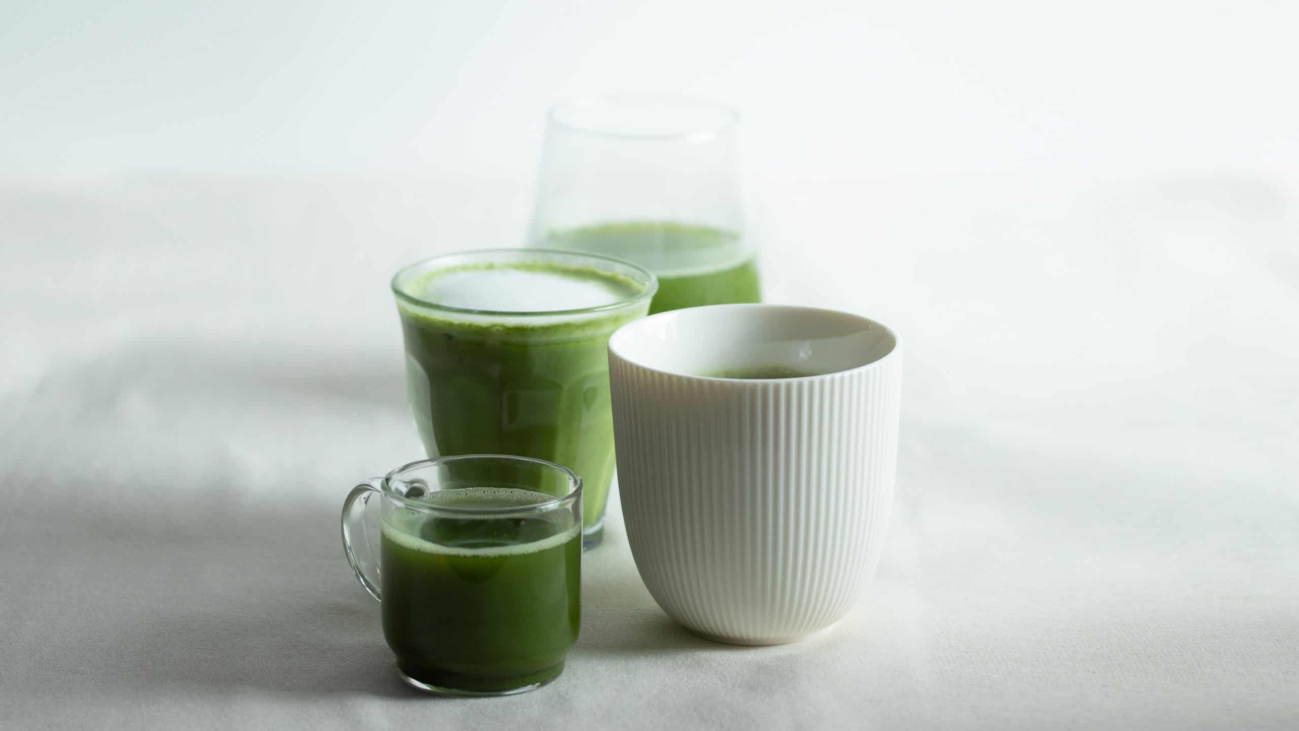 variations of matcha in different cups