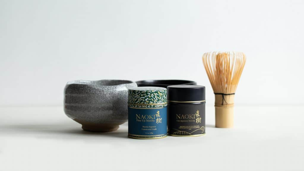 Kirishima Harvest Ceremonial Matcha and Superior Ceremonial belnds for matcha tea with bamboo whisk and chawan bowls