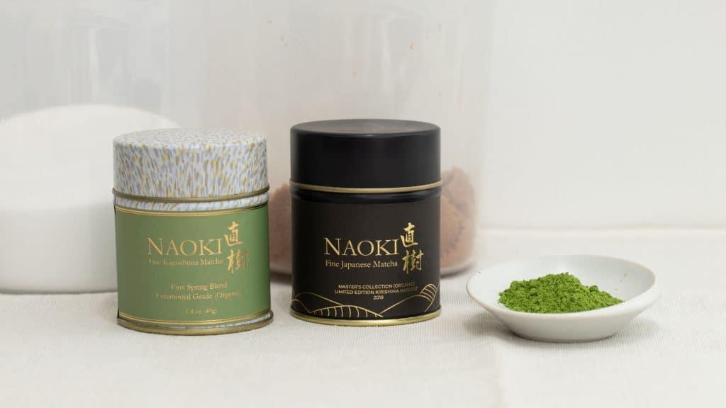 Naoki Organic matcha blends with a small white bowl of bright green matcha powder