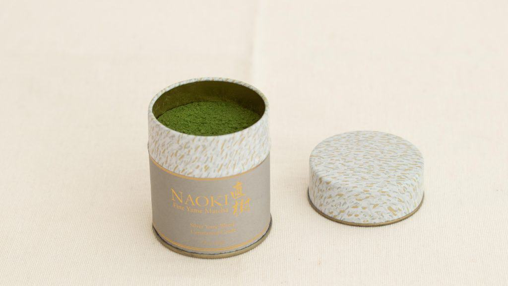 yame ceremonial matcha powder stored in a can