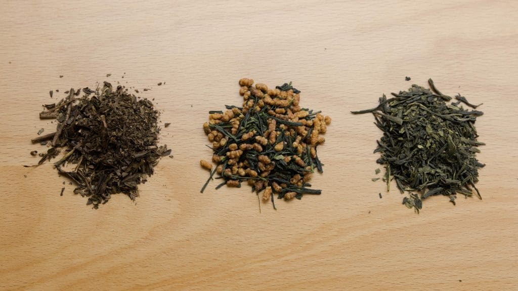 Variations of Japanese tea leaves - sencha, hojicha and genmaicha