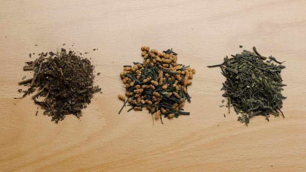 Variations of Japanese tea leaves - sencha, hojicha and genmaicha