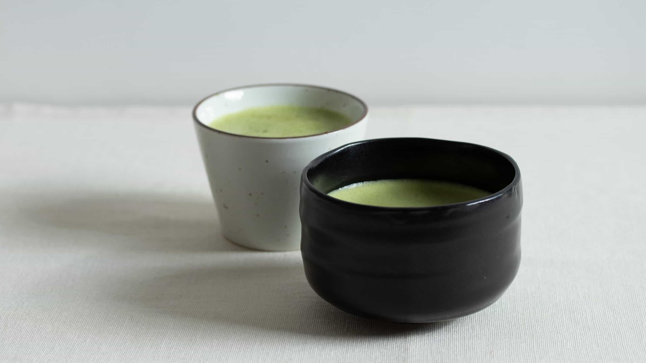 usucha in a black chawan bowl and a white bowl