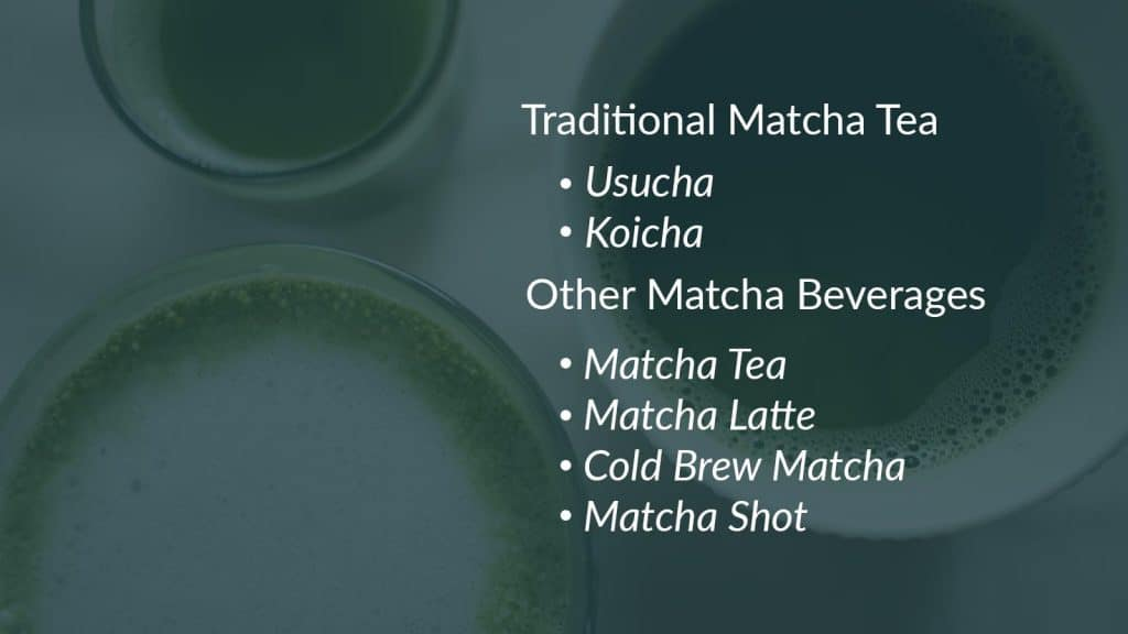 Traditional matcha tea and non-traditional way of making matcha