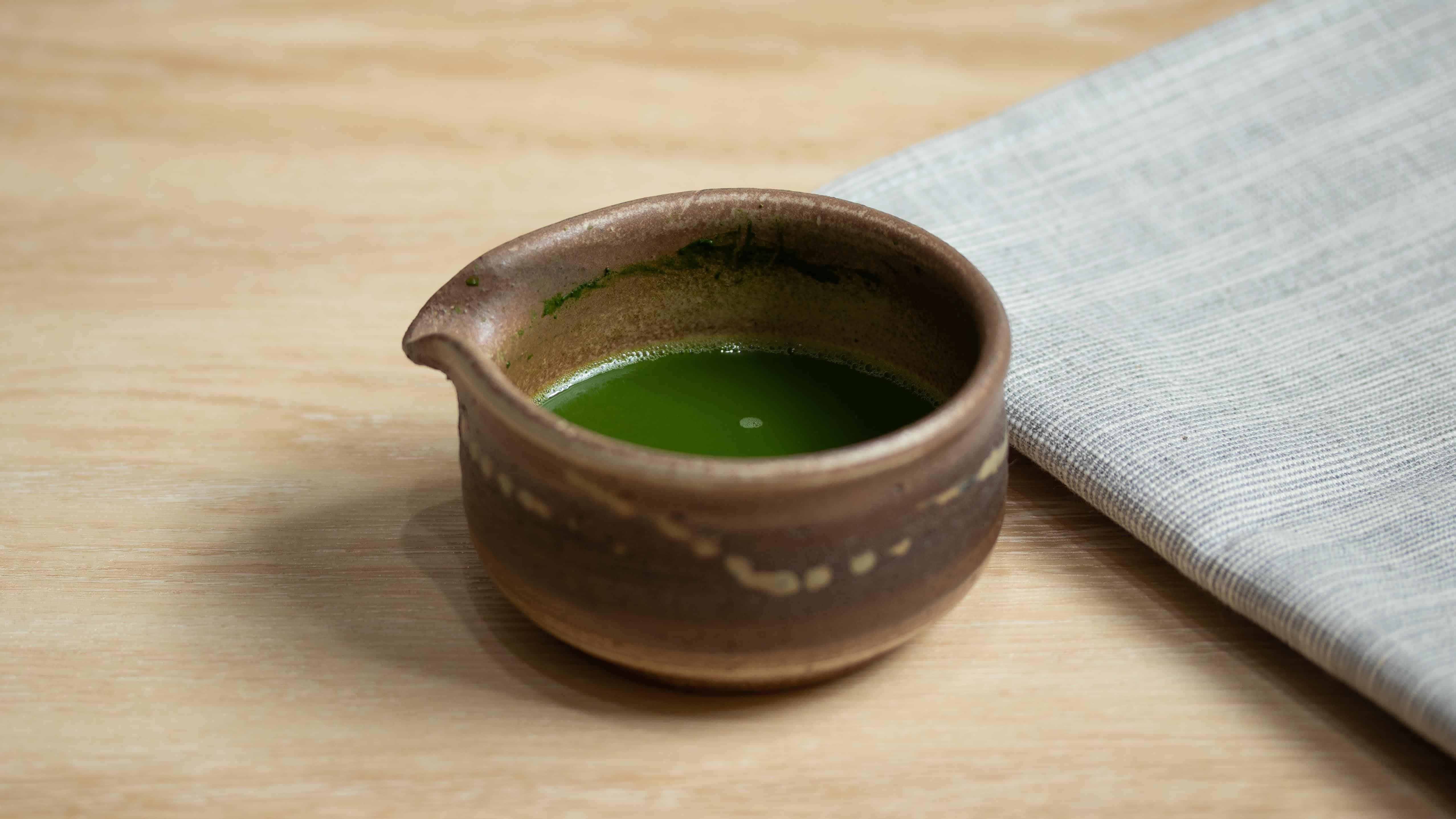Matcha shot in a bowl for matcha affogato