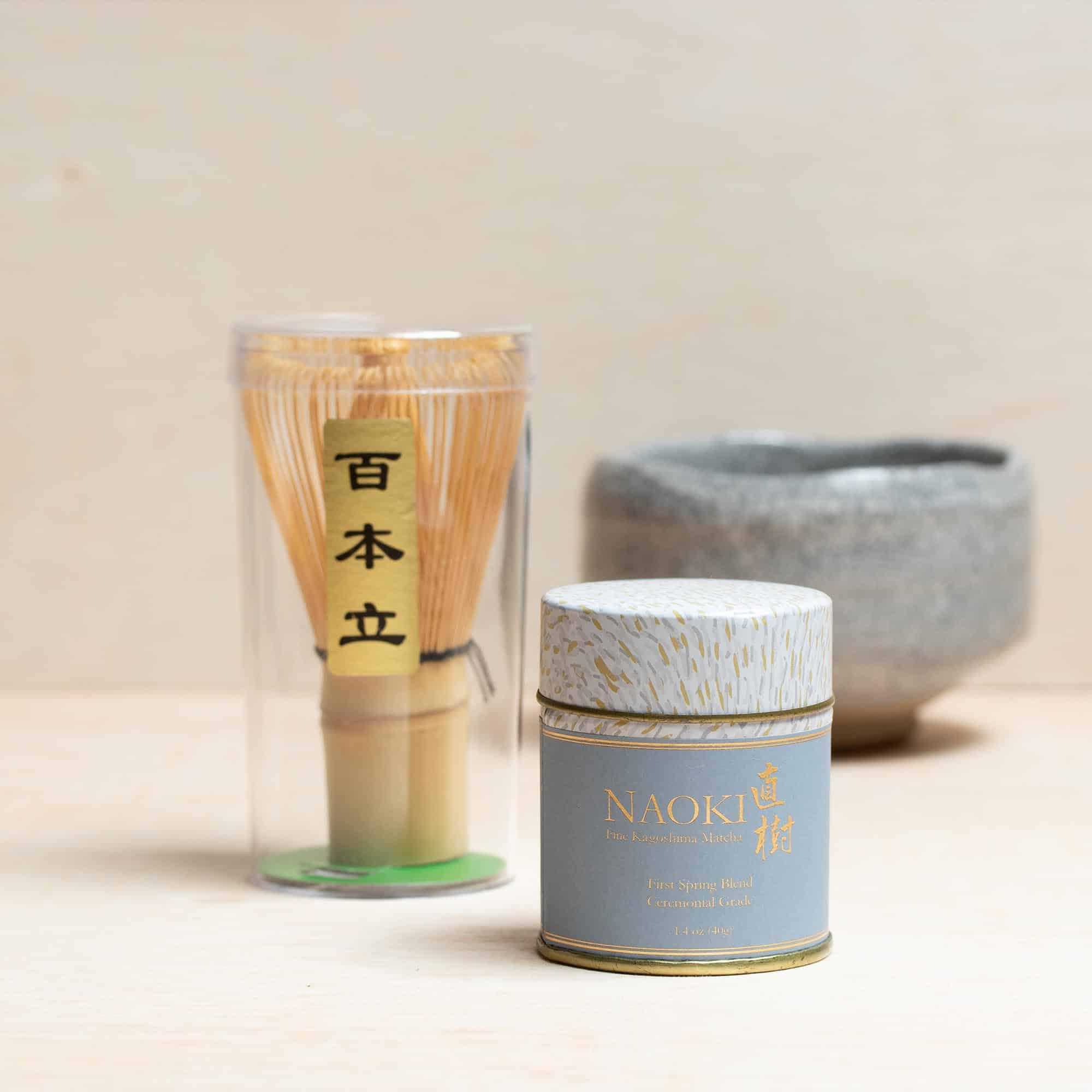 matcha ceremonial grade with bamboo whisk set