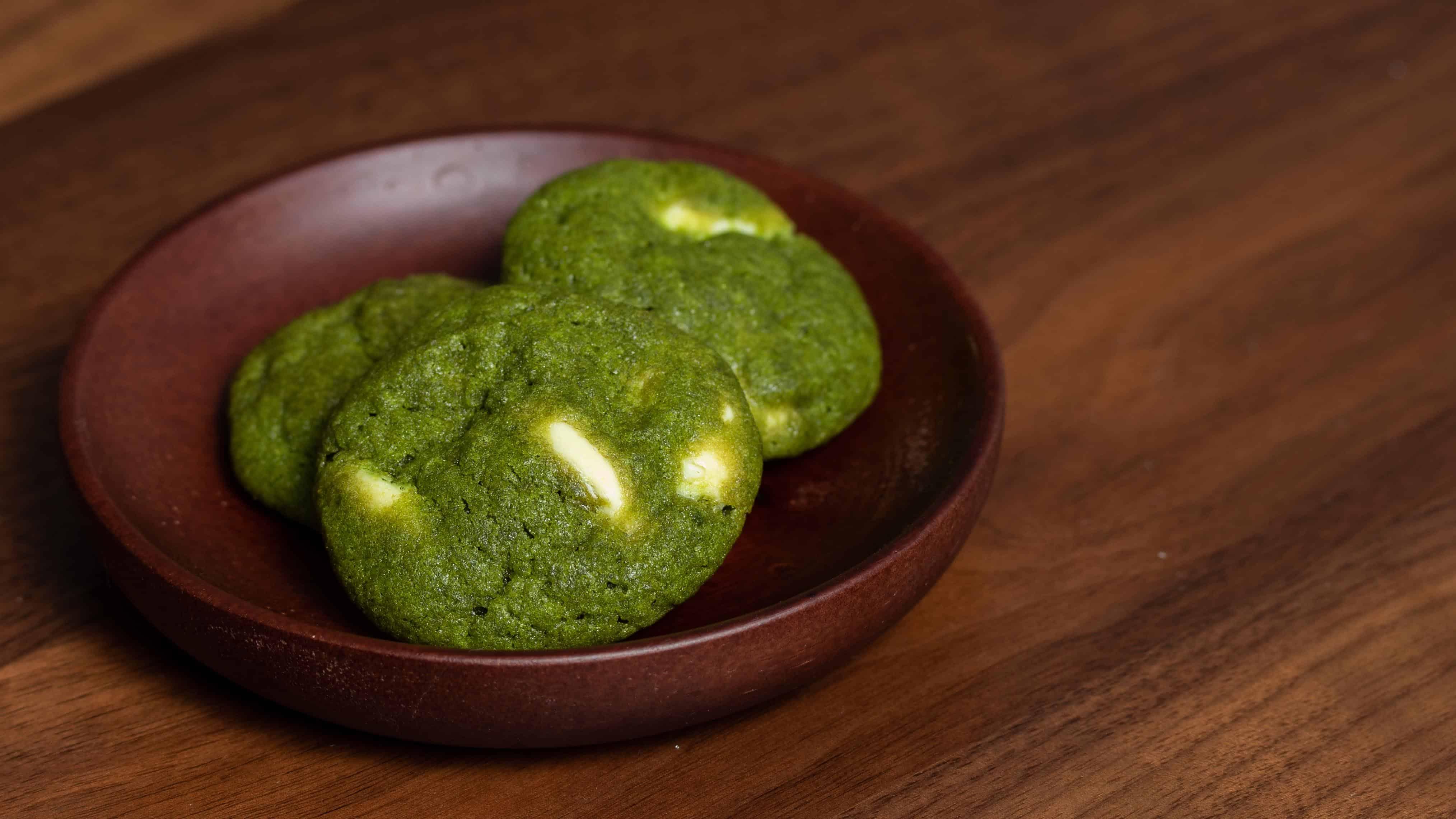 matcha green tea cookie on plate