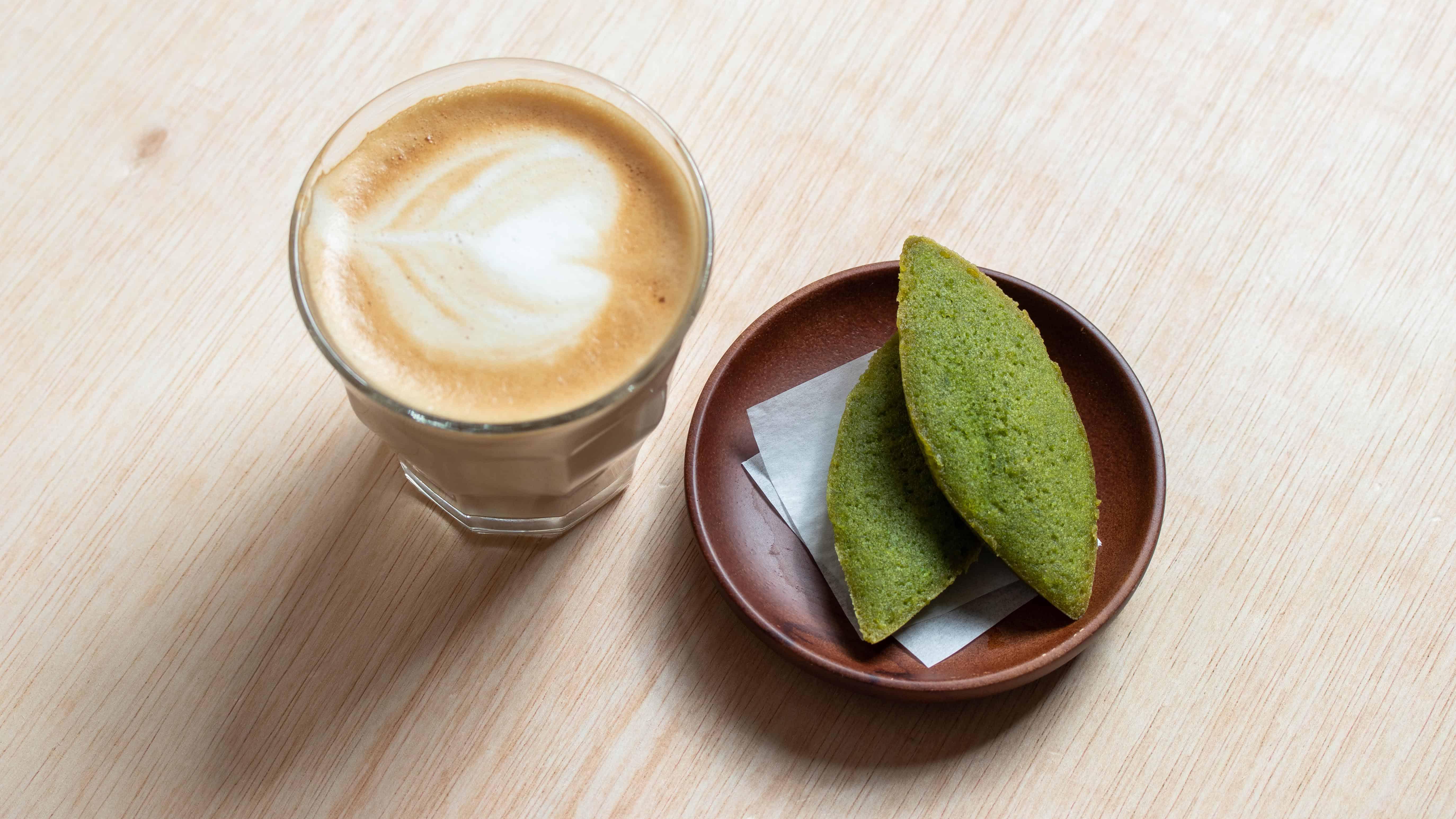 Matcha green tea financiers with tea for afternoon break