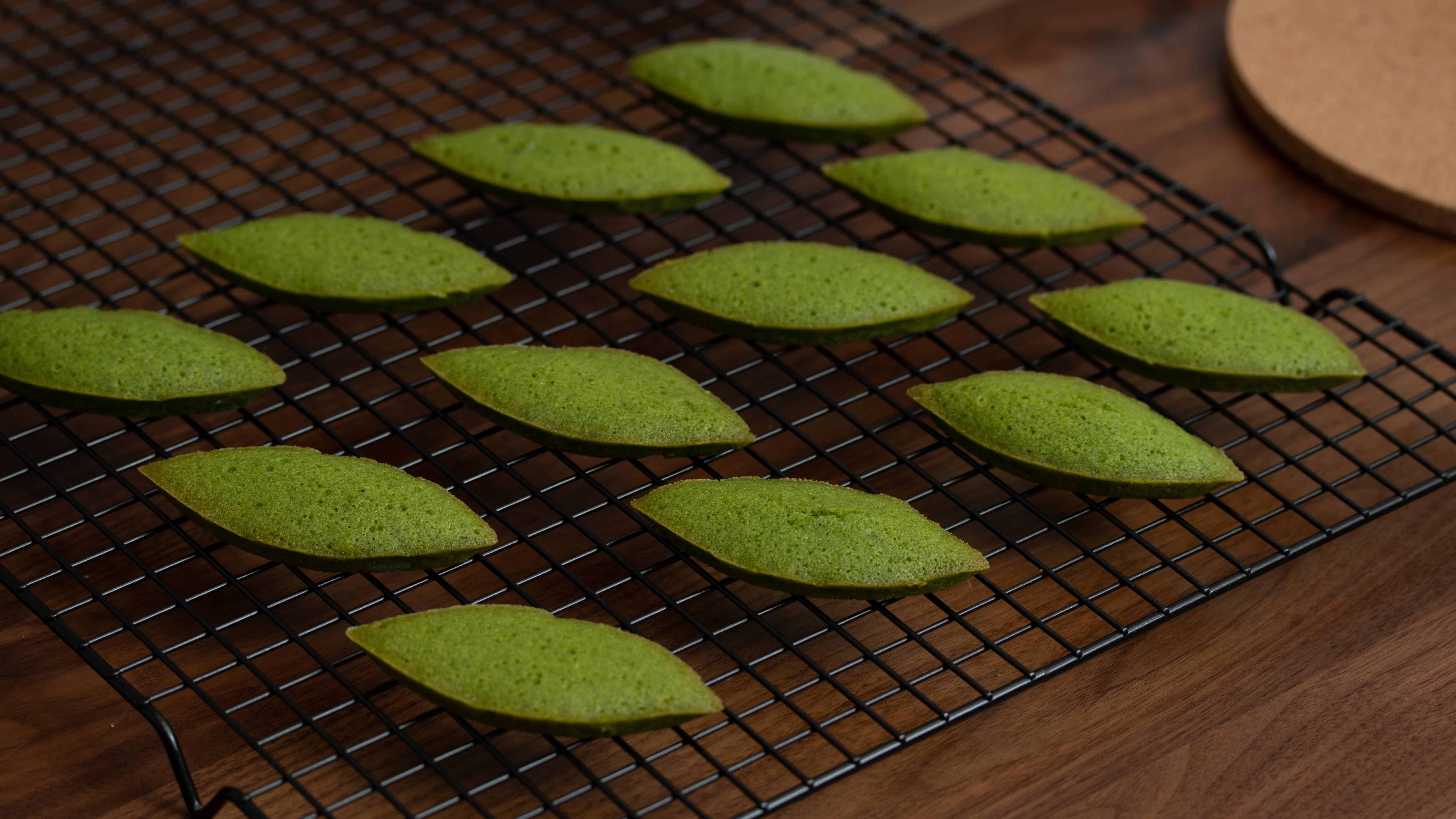 fresh out of oven matcha financiers on tray