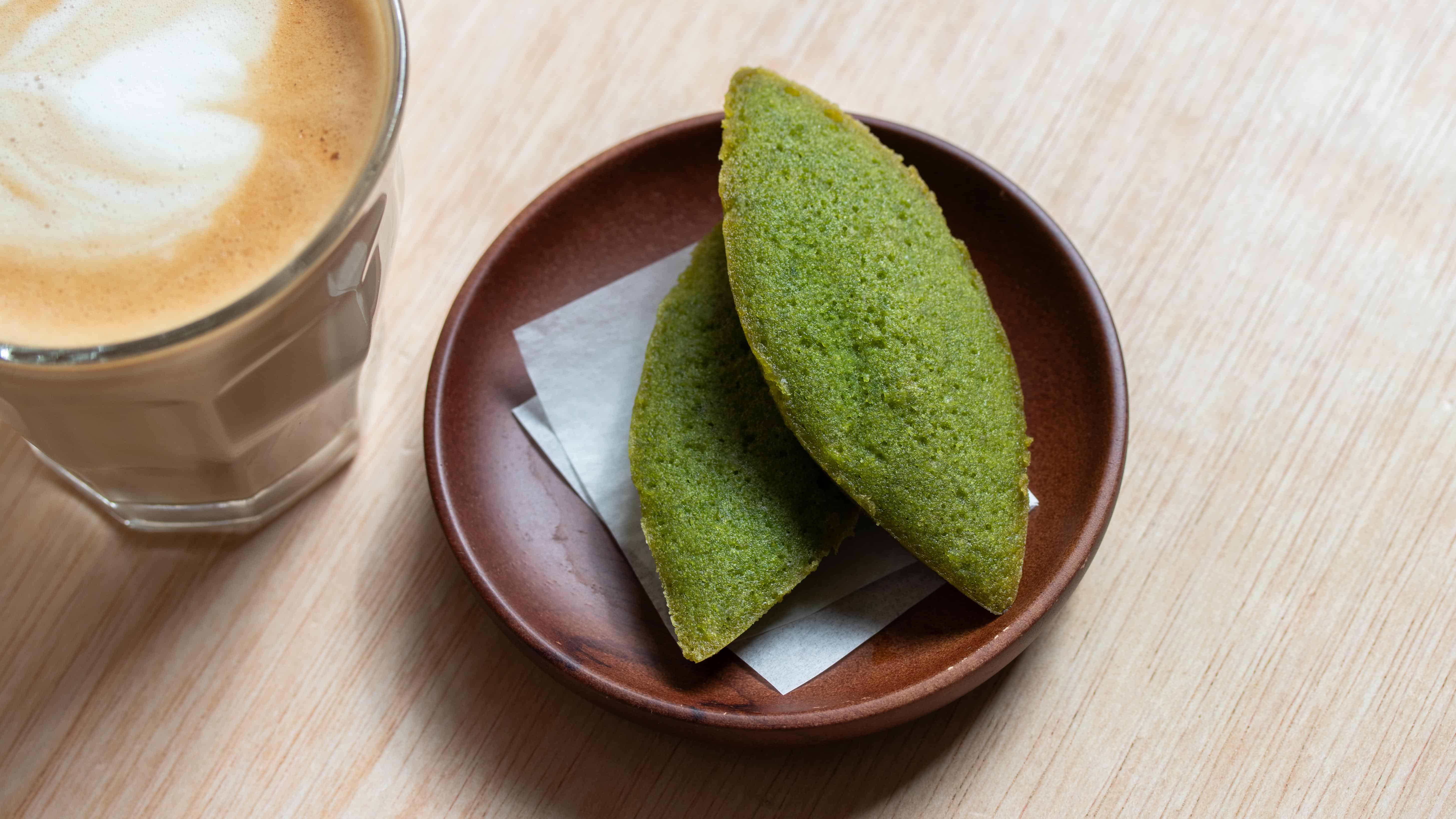 matcha green tea financiers served with hot tea