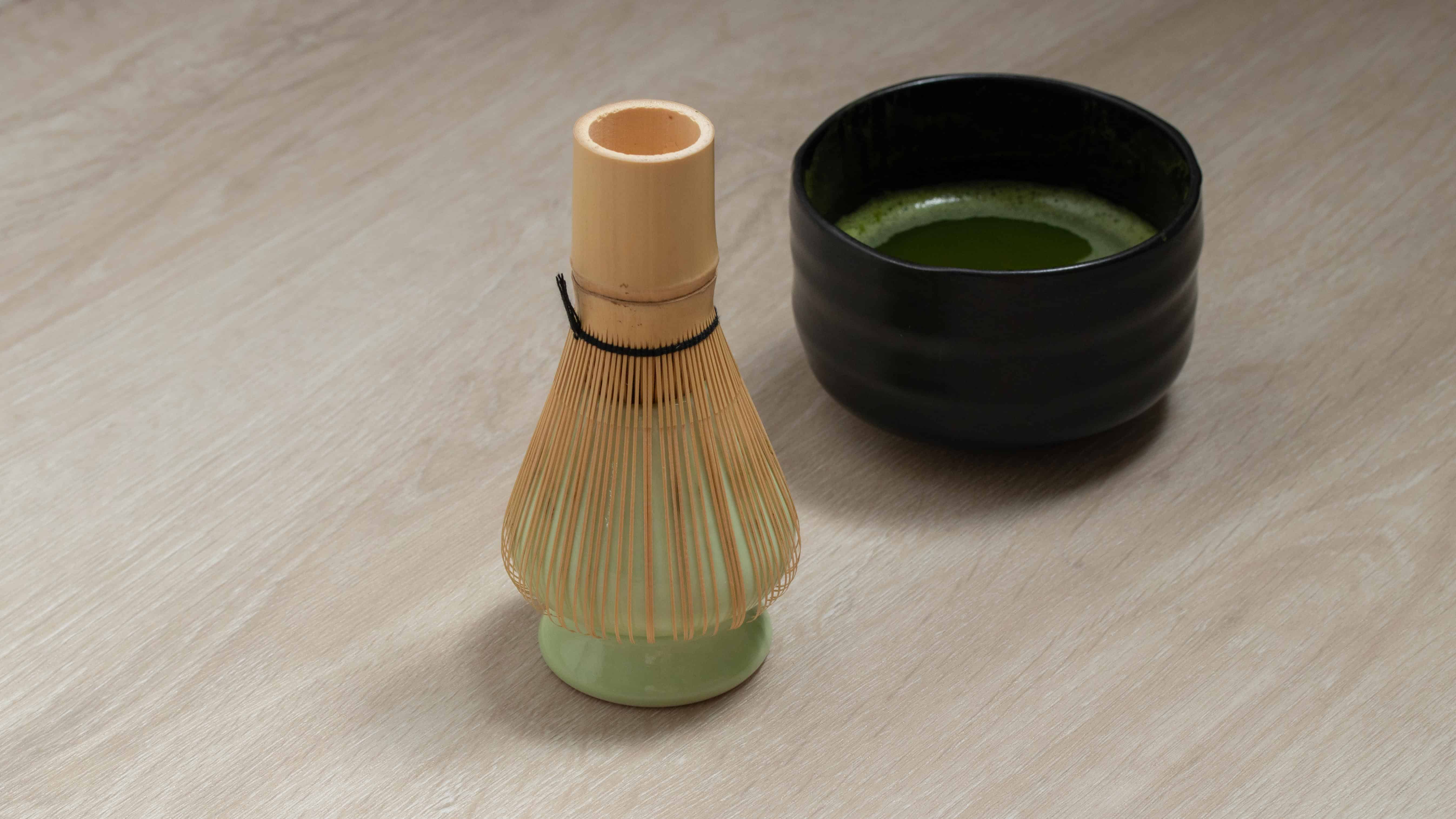 bamboo whisk on drying on matcha holder
