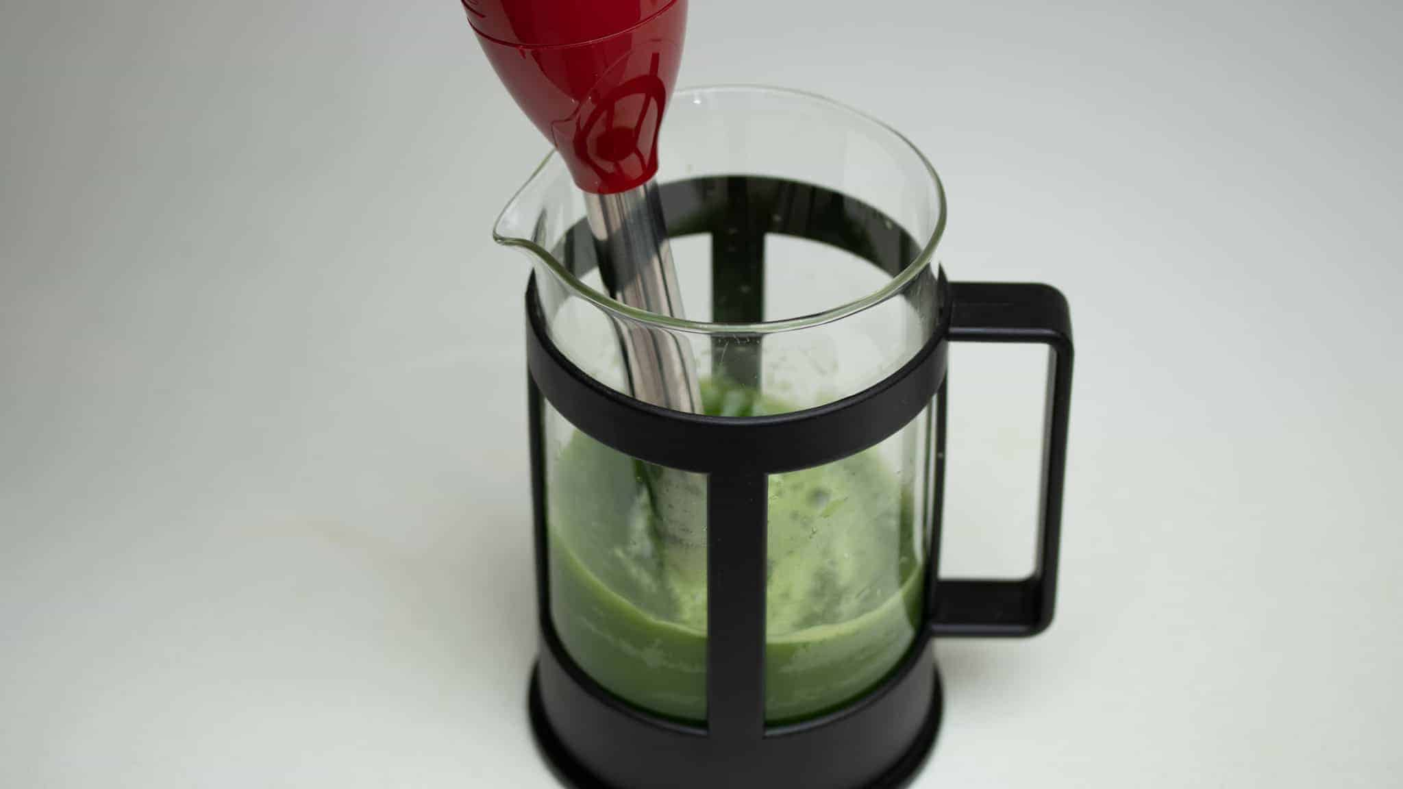 making matcha tea with immersion blender